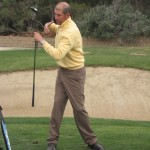 Marc Minier demonstrating shoulder rotation while using a proper core golf pivot