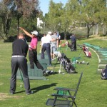 younger golfers hitting drivers and practicing golf strategy
